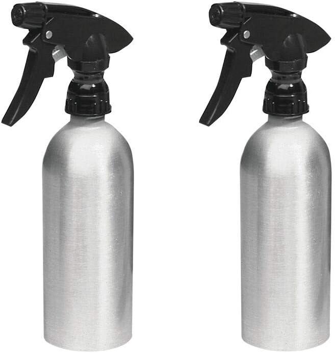 mDesign Pulverizador de Agua vacío (Juego de 2) – Rociadores de Agua Recargables de Aluminio para la casa y el jardín pulverizador para regar Plantas – Color: Plateado/Negro