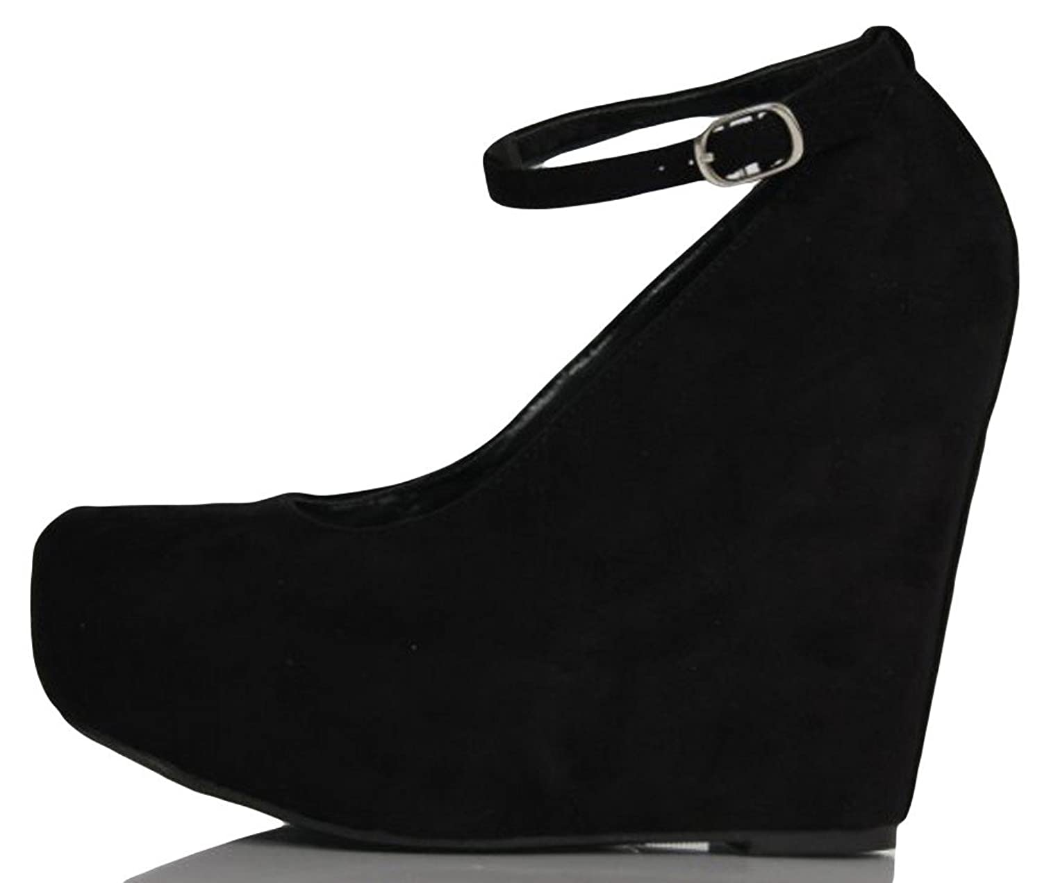 Amazon.com | Black Faux Suede Round Toe Ankle Strap Cover Platform ...