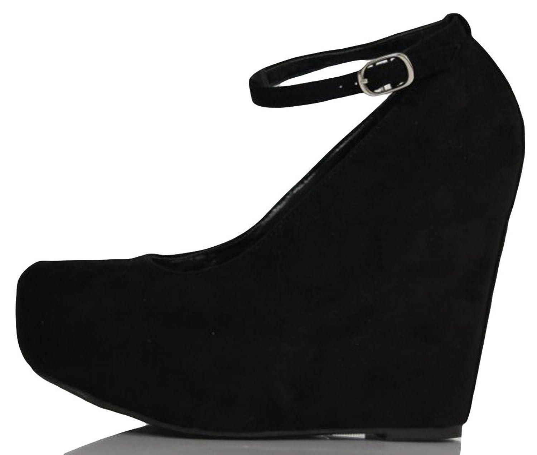 Amazon.com | Black Faux Suede Round Toe Ankle Strap Cover Platform ...
