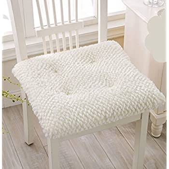 Soft Plush Seat Cushions Chair Pad With 17x17 Inch (white)