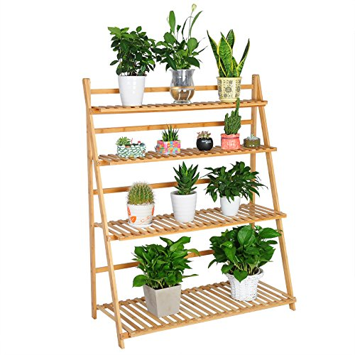WOLTU 4-tier Natural Bamboo Plant Stand Foldable Ladder Flower Rack Display Shelf for Home Patio (Bamboo Plant Stand)