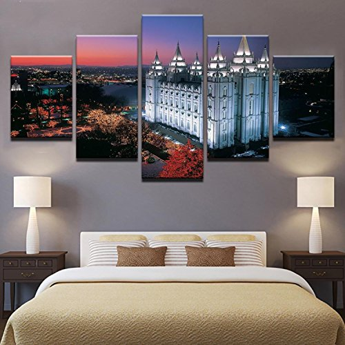 Canvas HD Prints Poster Home Decor Framework 5 Pieces Salt Lake City'S Temple Square Paintings For Living Room Wall Art Pictures -
