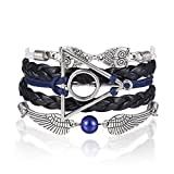 AFAF Handmade Harry Potter-Deathly Hallows Inspired Silver Triangle Owls/Snitch Bracelet-Black Leather Braid/Rope(Black+Blue)