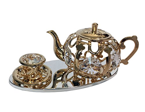 24k Gold Plated Teapot with Cup and Saucer on Silver Plated Serving Tray Figurine with Spectra Crystals by Swarovski