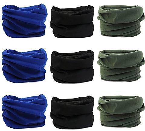 Kingree 9PCS Outdoor Headscarves for ATV/UTV riding, Seamless Bandanas Tube, High Elastic Headband with UV Resistance, Womens and Mens Headband Headwear Headwrap (3x3 Solid Color - Sports And Outdoors