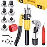 Yescom Hydraulic Swaging Tool Tube 7 Lever Expander Kit HVAC Tube Bender Hand Tool with Case