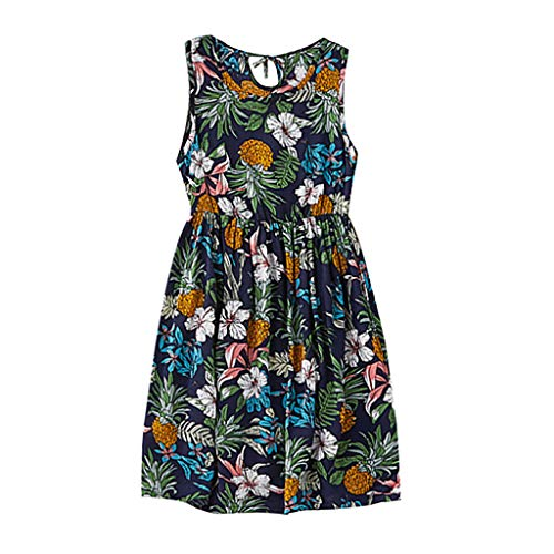 Dress Summer O-Neck Sleeveless Spaghetti Strap Button Down A-Line Backless Swing Midi Dress Leaf Floral Printing Family Clothes Dress Womens (S,Dark Blue)