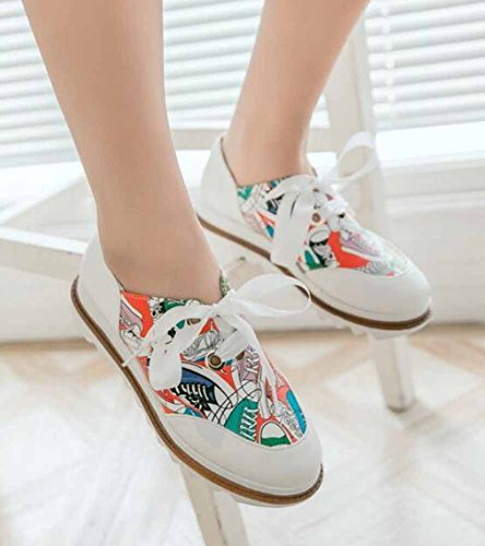Showhow Damesmode Ronde Neus Lace Up Lage Top Mid Hak Platform Walking Fashion Sneakers Rood