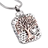 Beydodo Stainless Steel Pendant Tree Life Cremation Jewelry Keepsake Memorial Ash Urn Necklace Silver