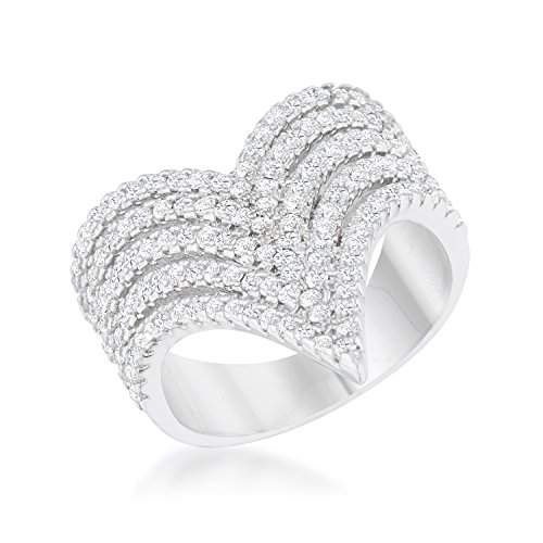 Classic | Cocktail Ring for Woman Clear Round Cubic Zirconia Pave Setting Size 6