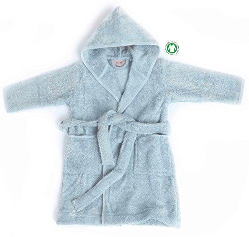 Zoog Organic Cotton Natural Dye Premium Quality GOTS Certified Non-Chemical Non-Toxic 100% Vegan Soft Comfortable Baby Hooded Blue Bath Robe (1-2 Years, Blue)