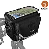 BV Bicycle Map Sleeve Quick-Release Handlebar Bag with Bungee Drawstrings and 3M Reflective Trim