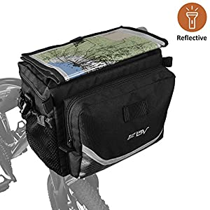 BV Bicycle Cycling Map Sleeve Quick Release Front Basket Frame Tube Handlebar Bag with Two Mesh Pockets, Bike Pouch for Mountain, Road, MTB, Folding Bike
