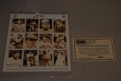 (100th anniversary of Babe Ruth's birth stamps issued in Guyana.)