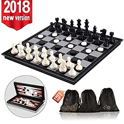 3-in-1 Chess Set - Travel Chess Set Magnetic Chess & Checkers & Backgammon Folding Board Game, Portable Checkers with 3 Mesh Bags, Best Chess Set Gift
