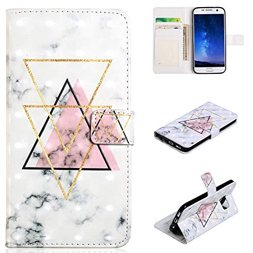 Ostop Samsung Galaxy S7 Wallet Case,Creative Geometric White Marble Design Fashion Stand Leather with Credit Card Slots Magnetic Flip Anti-Scratch Cover for Girls Boys Samsung Galaxy S7