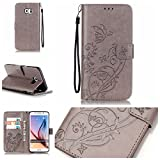 Galaxy S6 Edge Plus Case with Free Screen Protector,Funyye Leather Wallet Strap Cover with Card Slots Embossed Design Full Protection Stand Case Cover for Galaxy S6 Edge Plus - Gray