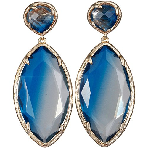 Faceted Gemstone Drop - SUNYIK Faceted Oval Crystal Point Dangle Earrings for Women, Blue Crystal