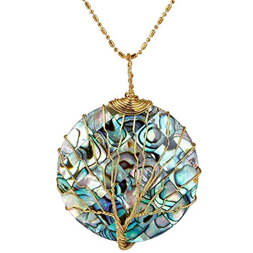 - SUNYIK Round Patch Plaid Abalone Shell Tree of Life Pendant Necklaces for Women,Copper Wire Wrapped Jewelry