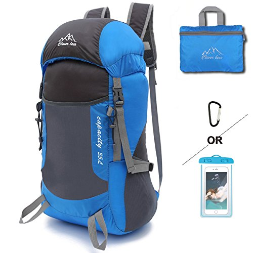 Lightweight Packable Backpack Foldable Backpack Water Resistant Durable Travel Hiking Daypack 35L Blue