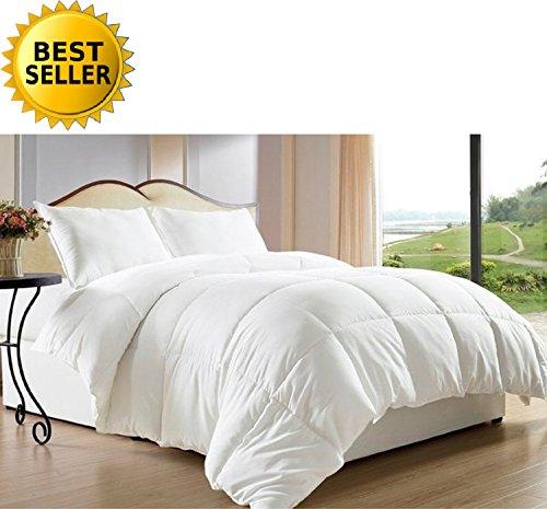 Celine Linen Luxury Ultra Plush Down Alternative Double-Filled Comforter%100 Hypoallergenic, King/Cal King, White (Luxury Linens)