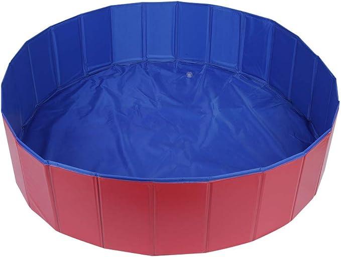 Zerone piscina para mascotas, 80/120 cm bañera plegable portátil para baño perro cachorro gato piscina plegable animales domésticos de verano, rojo y azul: Amazon.es: Productos para mascotas