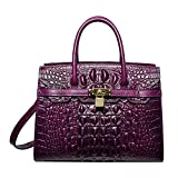 PIJUSHI Women Purses And Handbags Crocodile Top Handle Satchel Bags Designer Padlock Handbags (9016 Violet)