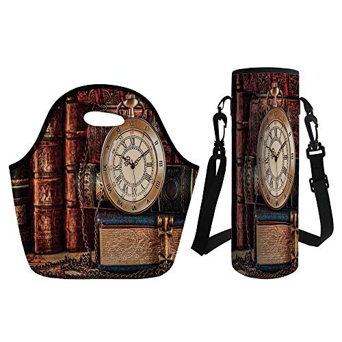 3D Print Neoprene lunch Bag with Kit Neoprene Bottle Cover,Antique,Nostalgic Classic Pocket Watch on the Background of Old Books Dated Archive Photo,Multicolor,for Adults ()
