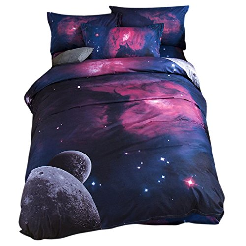 Ikevan 3 Pcs Bed Linen Home Textile Bedding Set Duvet Cover Star Colorful Bed Pillowcases(1 pc Duvet Cover 200x230cm+2 pcs Pillowcases 48x74cm ) (02)