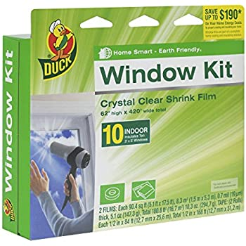 Duck Brand 281506 Indoor 10-Window Shrink Film Insulator Kit, 62-Inch x 420-Inch