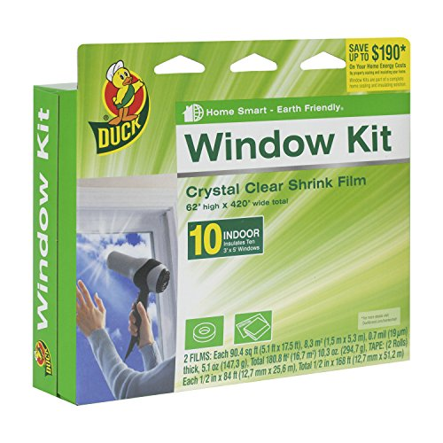 Duck Brand Indoor 10-Window Shrink Film Insulator Kit, 62-Inch x 420-Inch, 281506 (Window Insulation Plastic)