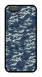 iPhone 5 5S Case Navy Camo TPU Custom iPhone 5 5S Case Cover Black