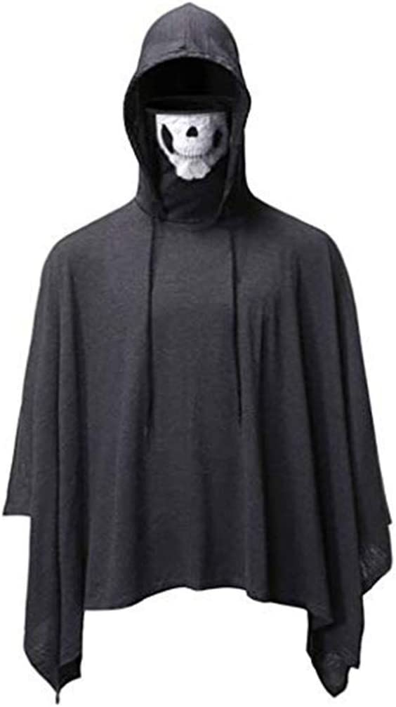 ALISIAM Blusa de Moda para Hombre Máscara de cráneo Capa Top de ...