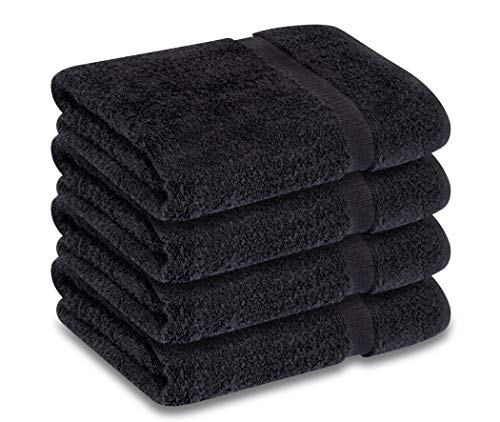 GOLD TEXTILES Premium Bath Towel Set (Pack of 4, 27 x 54) 100% Ring-Spun Cotton Towels for Hotel and Spa, Maximum Softness and Highly Absorbent (Black, 4) 54 Black Towel Ring