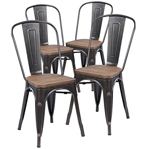Anji Modern Furniture Industrial Tolix Style Distressed Metal Bistro Stacking Kitchen Dining Chairs with Wood Seat, Antique Black Brushing, Set of 4
