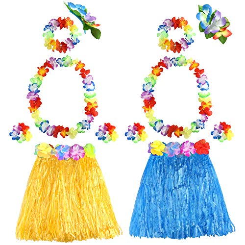 8b2c6c34b9e3 FEPITO Hawaiian Grass Hula Skirts Sets Include Flower Leis Necklace  Headband Bracelets Luau Skirts for Hawaii Costume Tropical Luau Birthday  Party Supplies ...