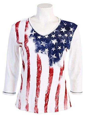 (Jess N Jane Old Glory Dressy Ladies Rhinestone Cotton T Shirt)