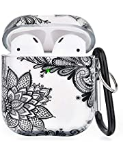 Compatibel voor AirPods Case Clear Girls Airpod Case Cover Skins-3 in 1 Leuke Accessoires Beschermende Harde Draagbare & Shockproof Case Cover Compatibel voor Apple Airpods 2/1 Opladen Case (Zwart Kant)