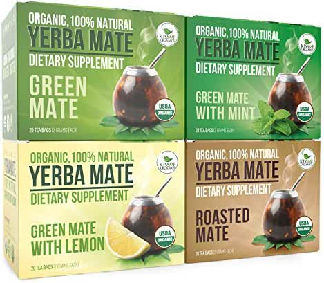 Organic Yerba Mate Tea Bags - Variety Pack - Organic Vitamin Packed Natural Detoxifier and Fat Burner - 4 boxes x 20 bags each box (2 grams per bag)