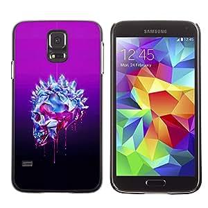 Shell-Star Arte & diseño plástico duro Fundas Cover Cubre Hard Case Cover para SAMSUNG Galaxy S5 V / i9600 / SM-G900F / SM-G900M / SM-G900A / SM-G900T / SM-G900W8 ( Bling Skull Purple Crystal Art Death )
