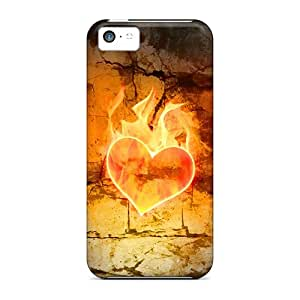 Premium [VKp19183mVYm]heart Fire Love Cases For Iphone 5c- Eco-friendly Packaging