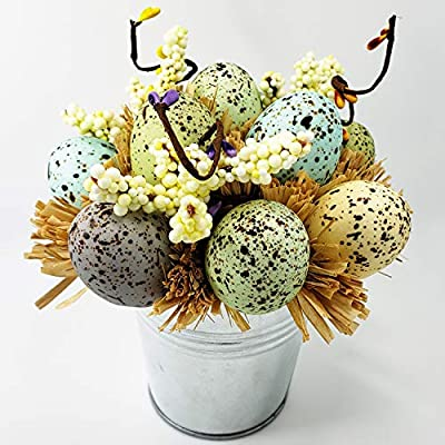 WsCrafts Iron Bucket Eggs Bonsai - Easter Eggs Decoration - Straw Combination - Easter Table Ornament - Height 6.3 inches