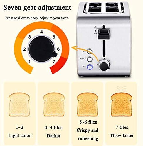 2 Slice Toaster Casa Colazione Macchina con Sbrinamento/Reheat/Annulla La Funzione, 2 Fessura Larga in Acciaio Inox