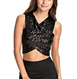 Aibearty Women Sexy Sequin Wrap Tank Vest Nightclub Crop Tops