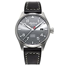 Alpina Startimer Pilot Automatic Grey Dial Black Leather Mens Watch AL-525G3S6