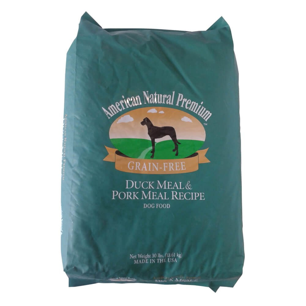 30 pound American Natural Premium Duck & Pork Pet Food, 30 Lbs