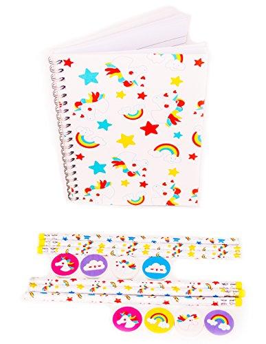 Rising Phoenix Industries Pink Kids Stationary Set Unicorns, Rainbow School Supplies Kit Unicorn Pencil Set (Pink Notebook Set)