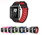 Apple Watch Silicone Replacement Band, Sport Edition by Pantheon,Strap fits the 38mm or 42mm Apple Watch 1, 2, 3 and Nike edition - Square Hole (42MM)