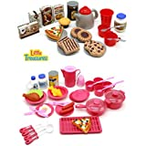 Little Treasures Mini Size Toy Dishes Food and Drinks, Meal with Desert Set Kitchen Playset for Kids Pretend Play Cooking/Serving Lunch Dinner or Snack Tea Time for Kids Ages 5 Plus (65 Pieces)