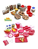 Little Treasures Mini Sized Dishes Food and Drinks, Meal with Desert Set Kitchen Playset for Kids Pretend Play Cooking/Serving Lunch Dinner or Snack Tea Time for Kids Ages 5 Plus